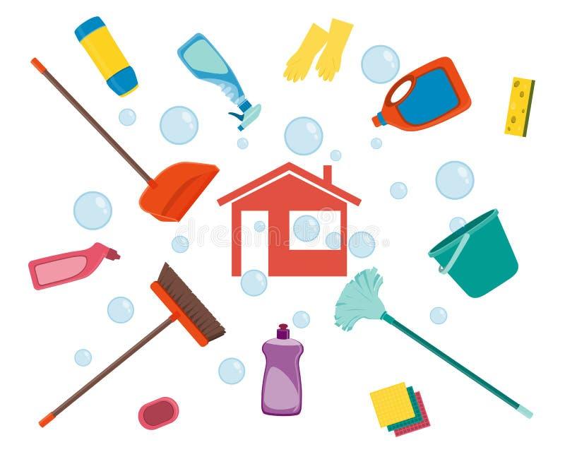 Huis het schoonmaken stock illustratie