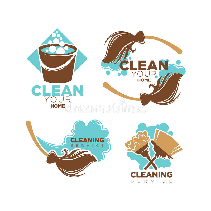 Huis het schoonmaken reeks van de dienst de vectorpictogrammen bezems en stofdoekborstels vector illustratie