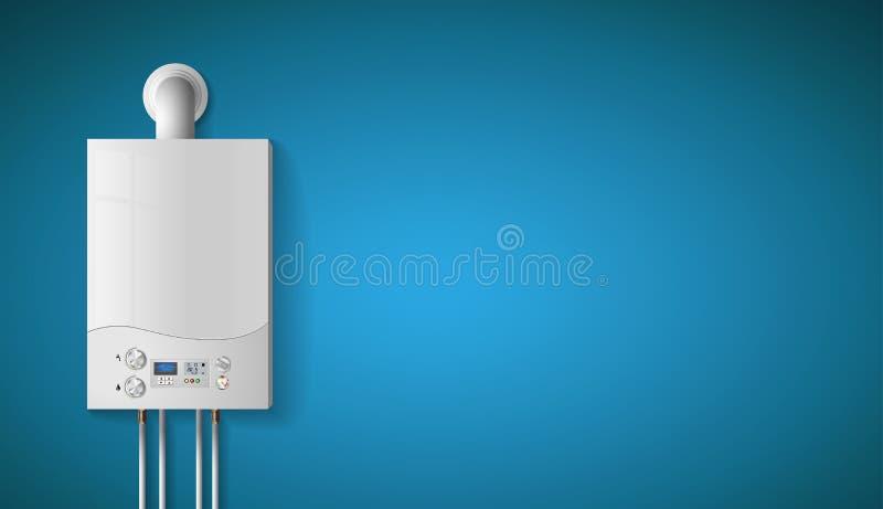 Huis het verwarmen concept - moderne huisboiler met gas - energie en contant geldbesparingen royalty-vrije illustratie