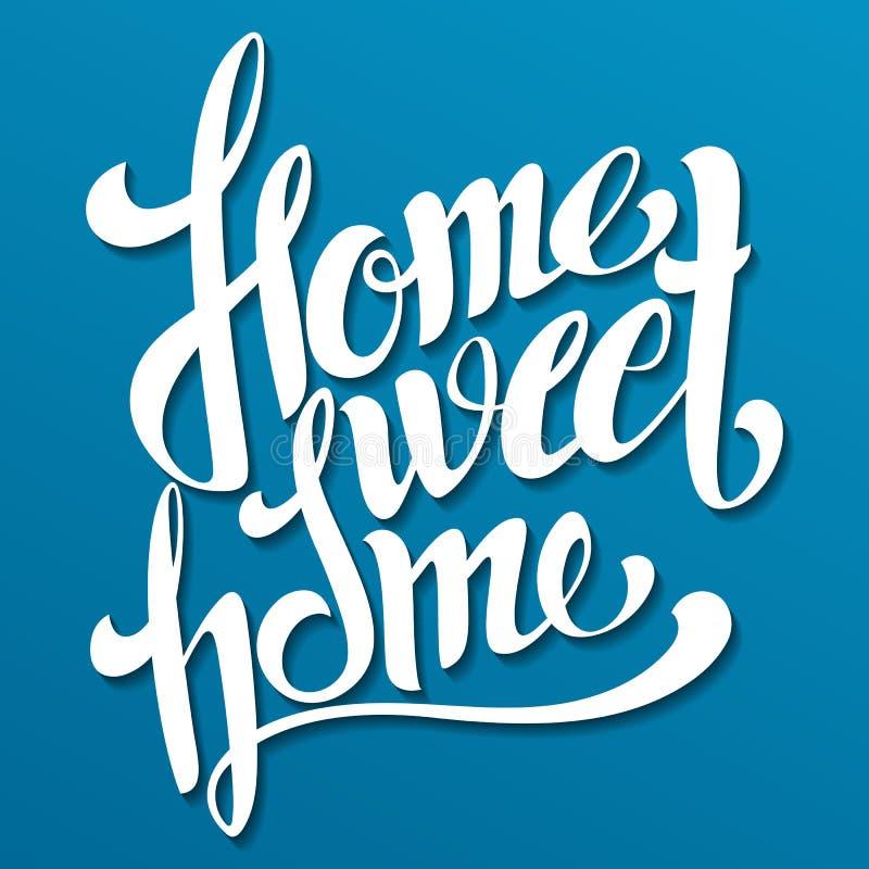 Huis het Zoete Huis Van letters voorzien Met de hand gemaakte kalligrafie, vectorillustra stock foto