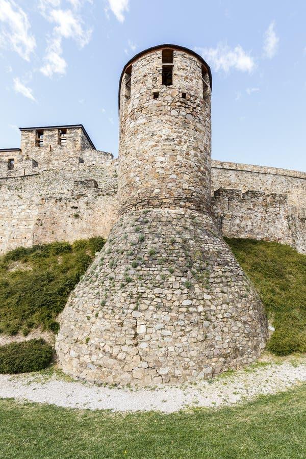 Huis of hoofdingang van Templar-kasteel in Ponferrada stock foto's