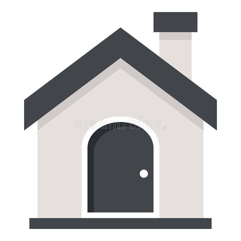 Huis of Huis Vlak die Pictogram op Wit wordt geïsoleerd stock illustratie