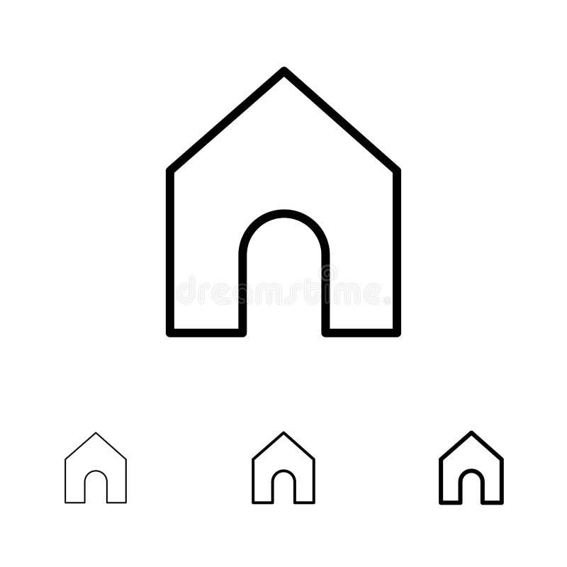 Huis, Instagram, het pictogramreeks van de Interface Gewaagde en dunne zwarte lijn royalty-vrije illustratie