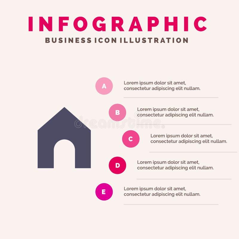 Huis, Instagram, Interface Stevig Pictogram Infographics 5 de Achtergrond van de Stappenpresentatie stock illustratie