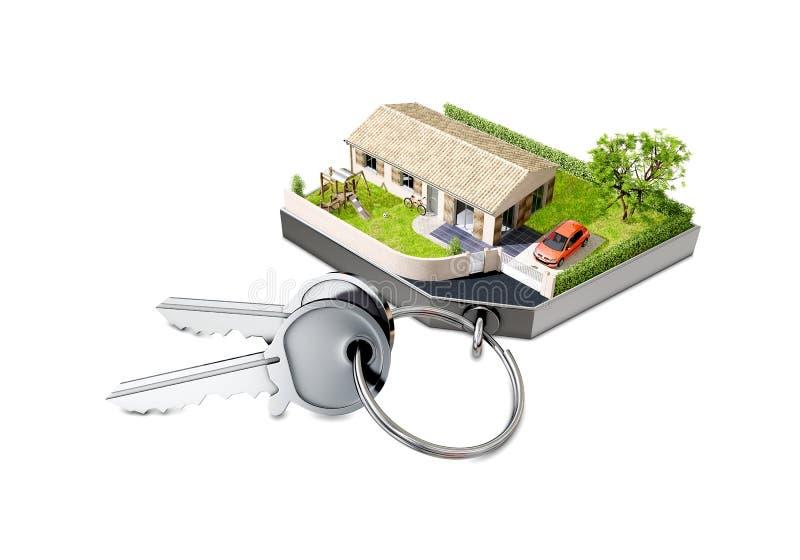 Huis keychain met sleutels wordt gevormd die royalty-vrije illustratie