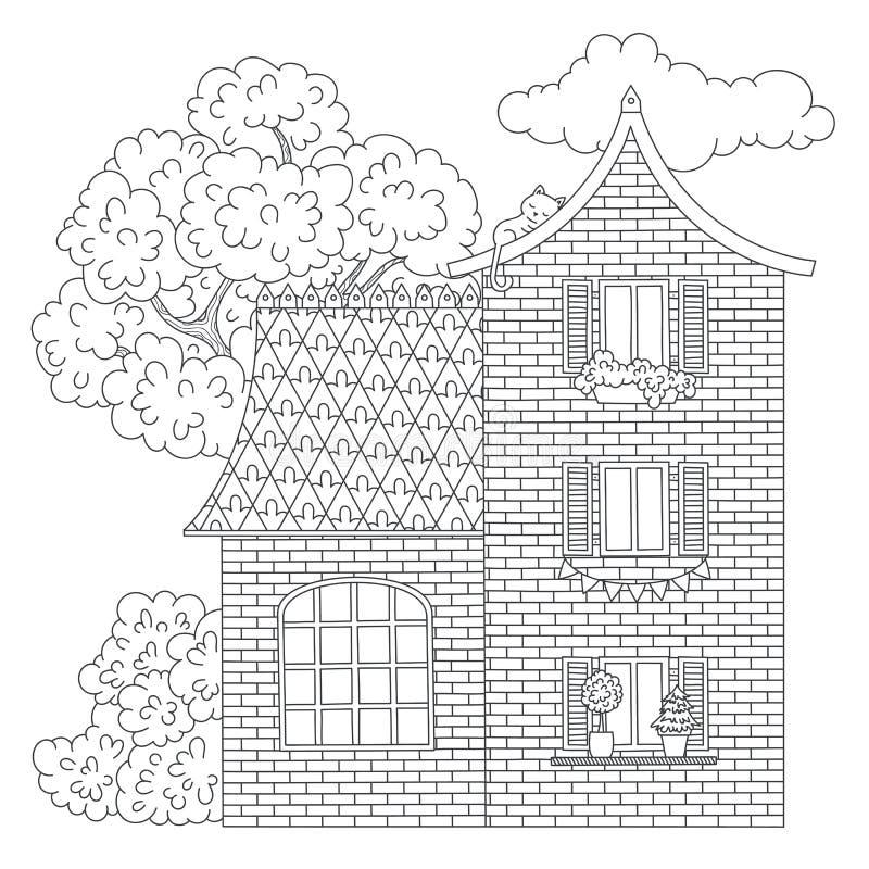 Huis kleurende pagina stock illustratie