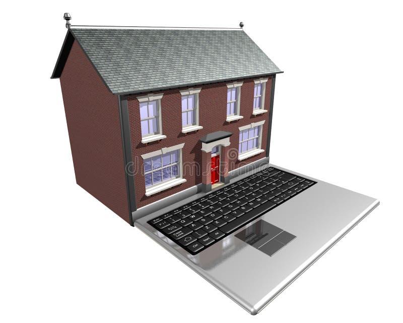 Huis-koopt op Internet vector illustratie