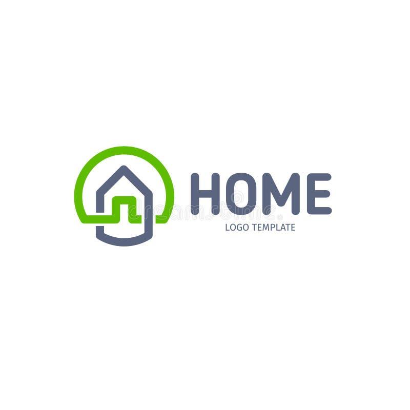 Huis lineair vectorembleem Slimme de kunst groene en grijze blauwe logotype van de huislijn Het pictogram van overzichtsonroerend vector illustratie