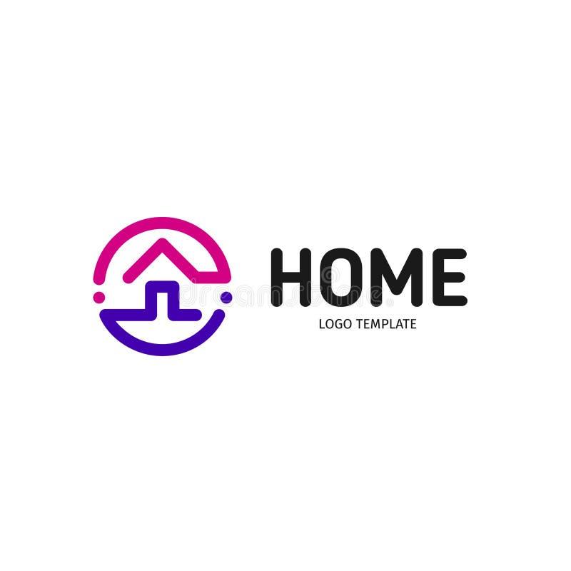 Huis lineair vectorembleem Slimme de kunst purpere, violette en zwarte logotype van de huislijn Het pictogram van overzichtsonroe royalty-vrije illustratie