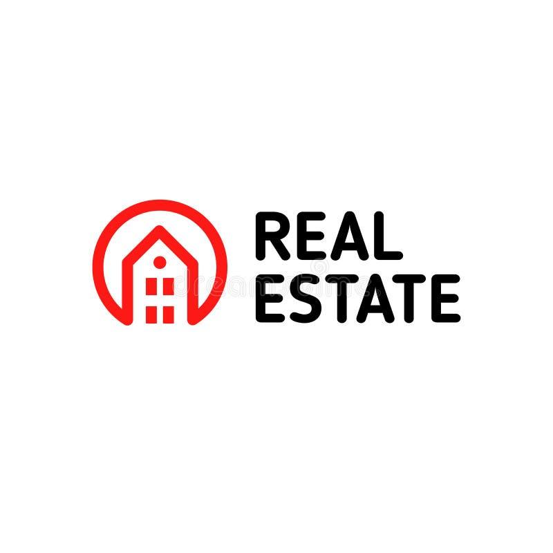 Huis lineair vectorembleem Slimme de kunst rode en zwarte logotype van de huislijn Het pictogram van overzichtsonroerende goedere stock illustratie
