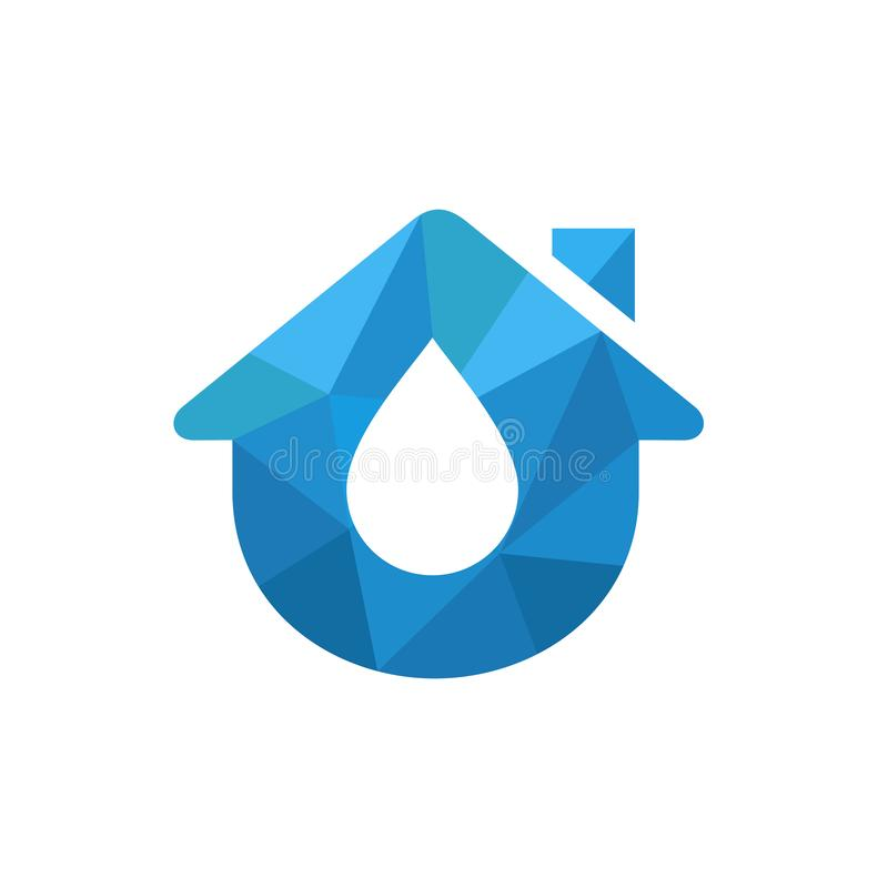 Huis Logo Incorporated With Water Abstract vectorpictogram Driehoekige Lage Polystijlillustratie vector illustratie