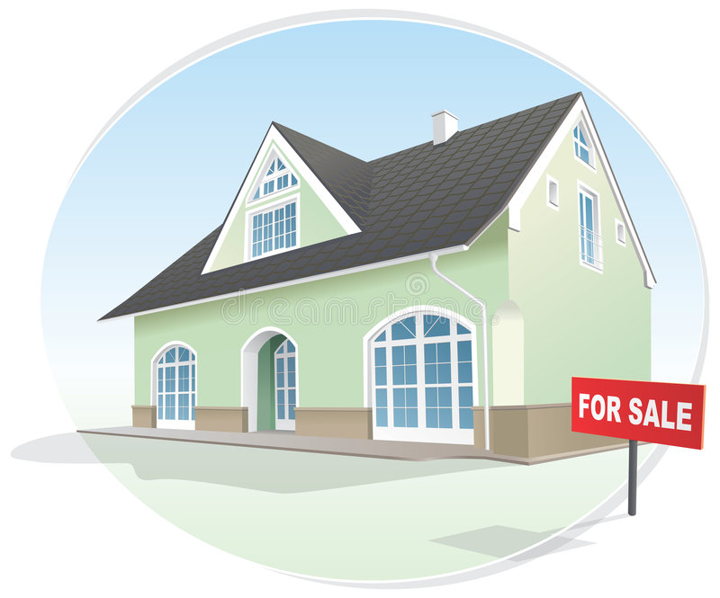 Huis, makelaardij voor verkoop. Vector vector illustratie