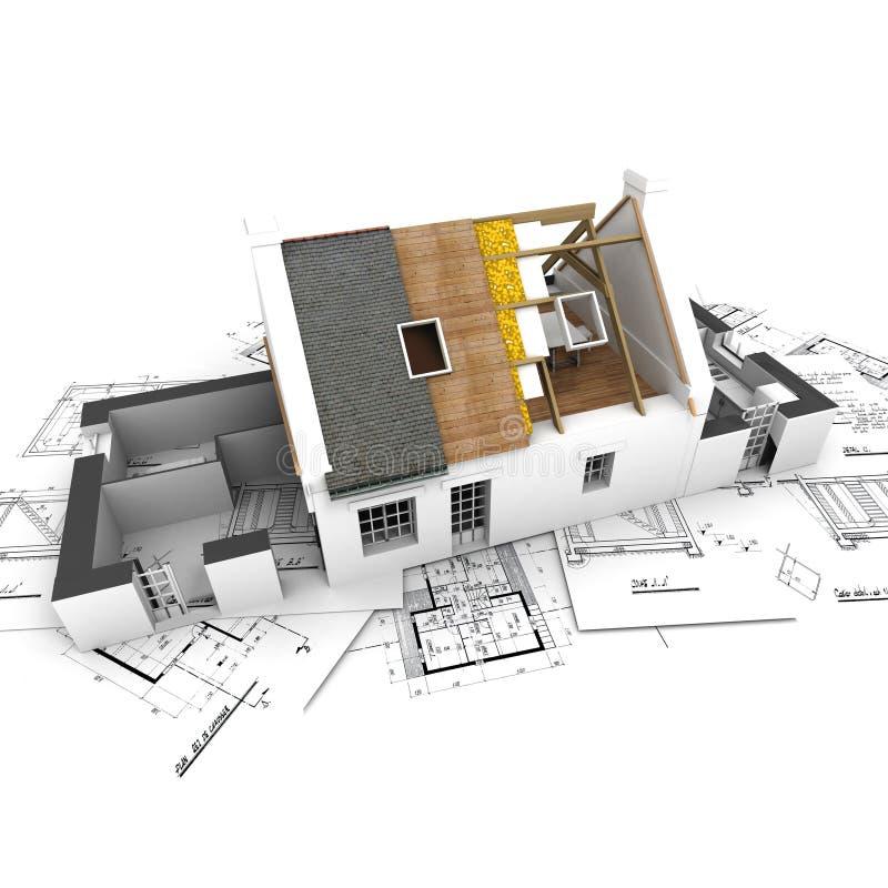 Huis met blootgestelde daklagen en plannen stock illustratie
