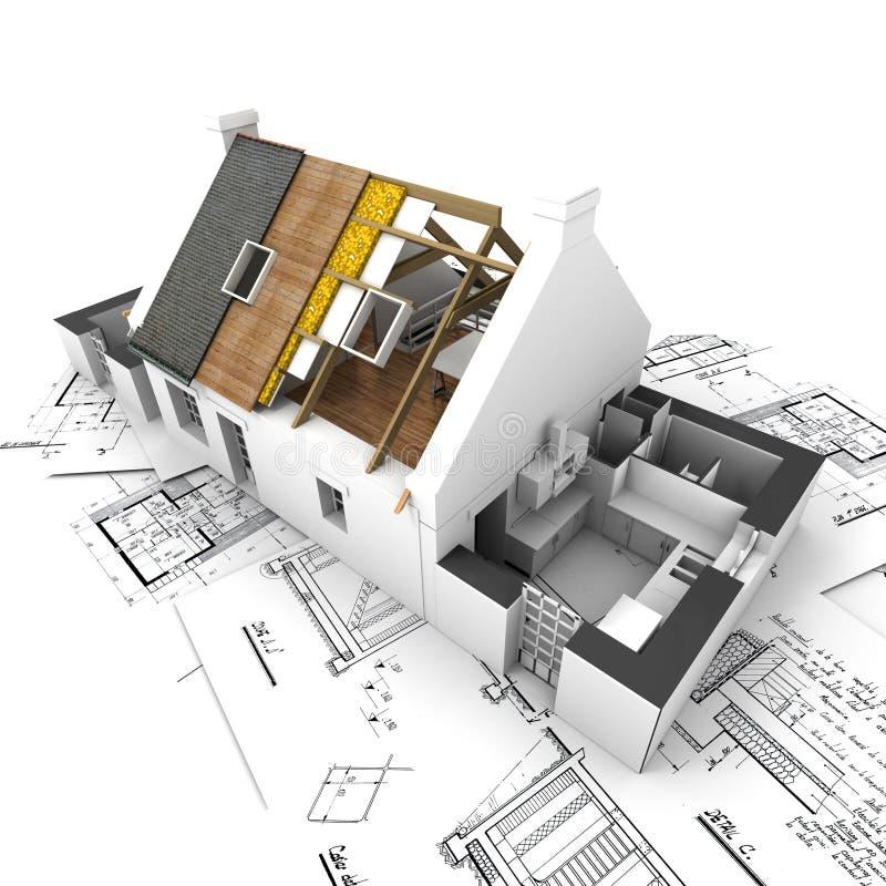 Huis met blootgestelde daklagen en plannen royalty-vrije illustratie