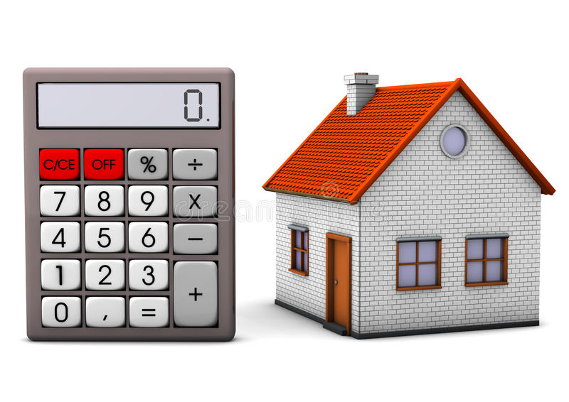 Huis met Calculator royalty-vrije illustratie