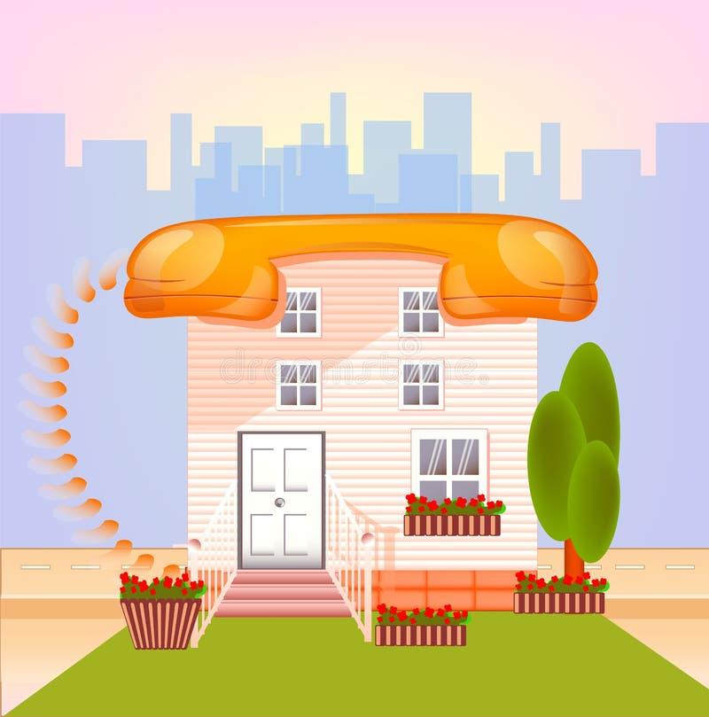 Huis met dak telephonin een grote stad in gelukkige kleur, royalty-vrije illustratie