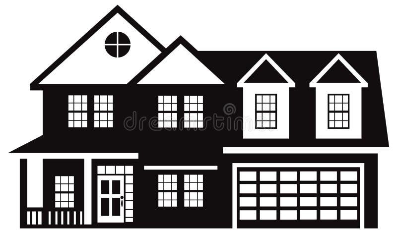 Huis met de Zwarte Witte vectorillustratie van de Twee Autogarage vector illustratie