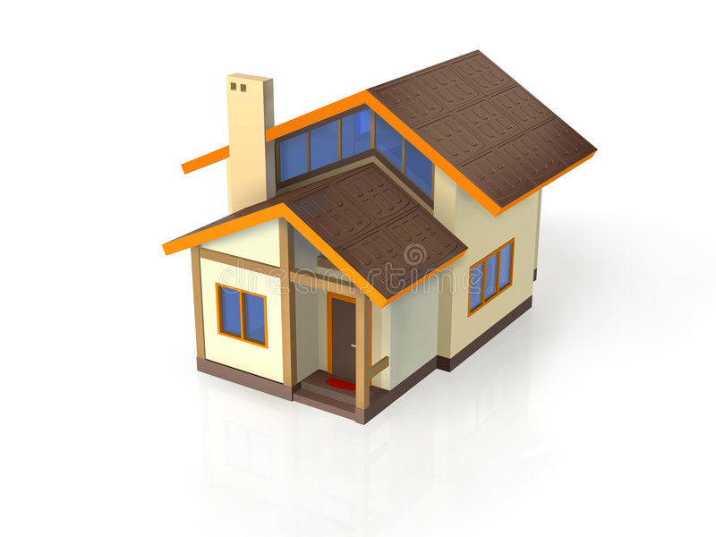 Huis met ecologische architectuur - Juiste Mening royalty-vrije illustratie