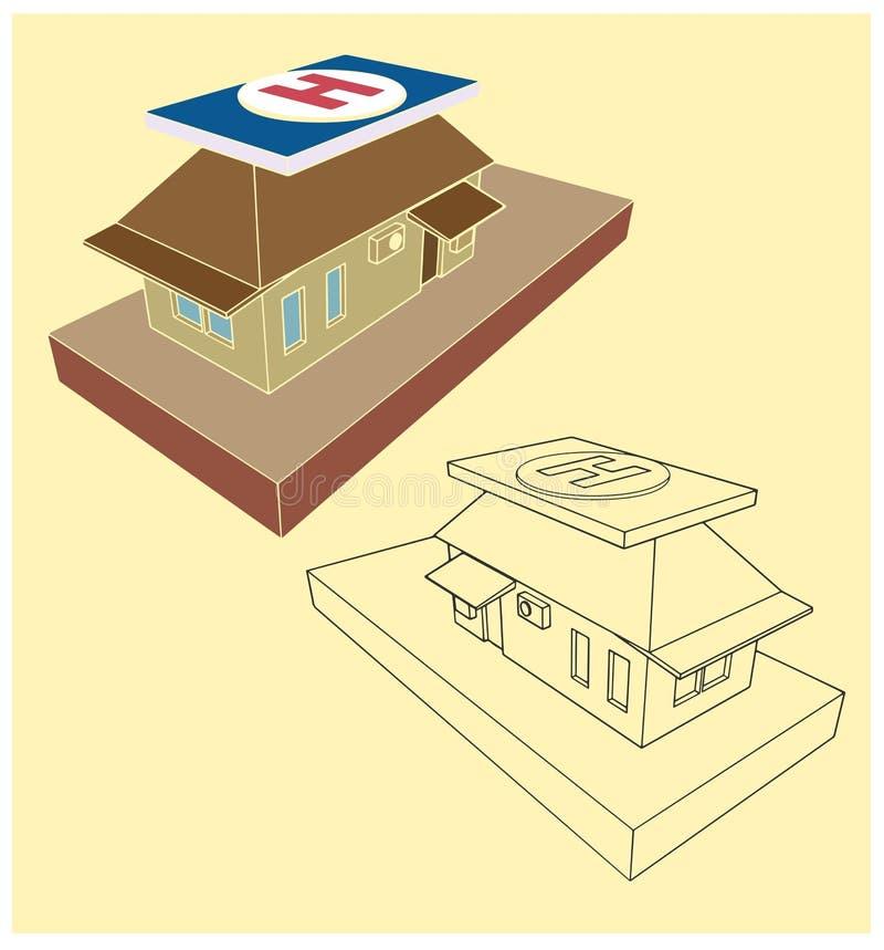 Huis met een helihaven op het dak royalty-vrije illustratie