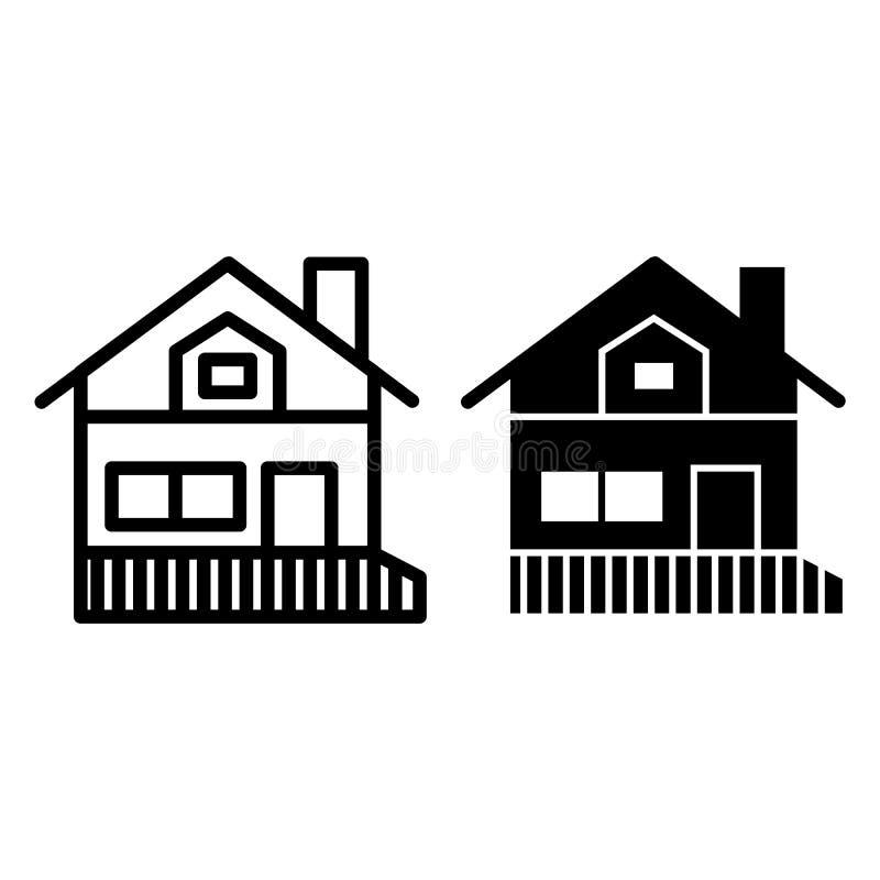 Huis met een een verandalijn en glyph pictogram Het huis van het geveltopdak met portiek vectordieillustratie op wit wordt geïsol vector illustratie