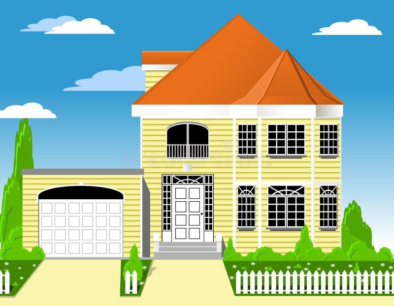 Huis met garage vector illustratie