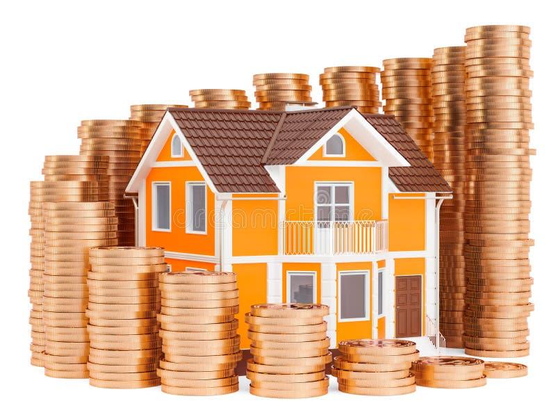 Huis met gouden rond muntstukken Onroerende goederenfinancieel concept, het 3D teruggeven royalty-vrije illustratie