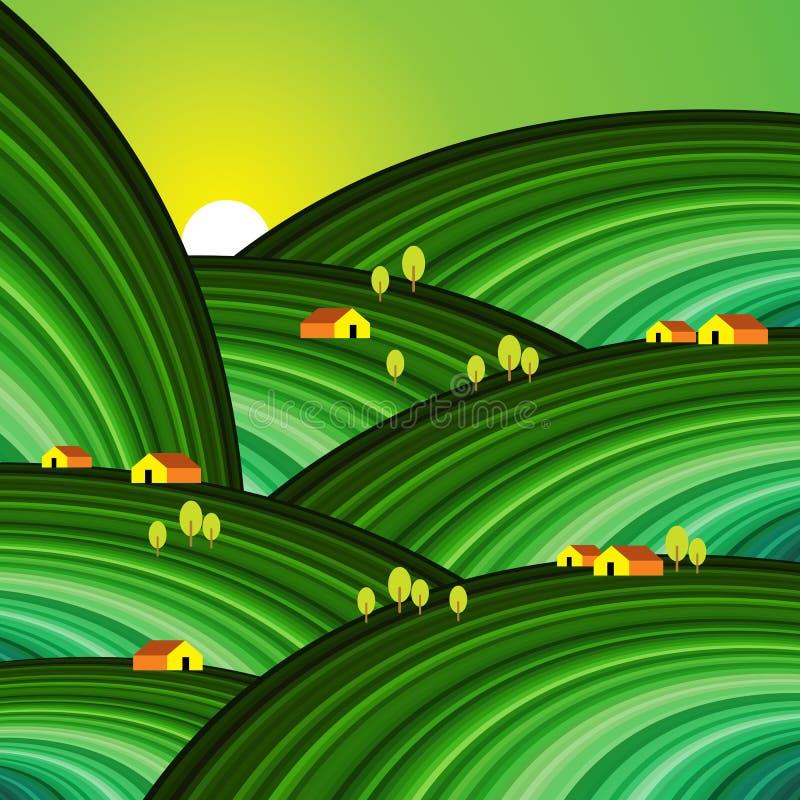 Huis met groen patroon royalty-vrije illustratie