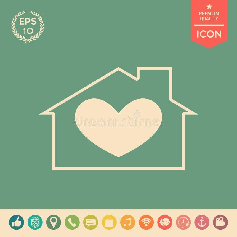 Huis met hartsymbool vector illustratie