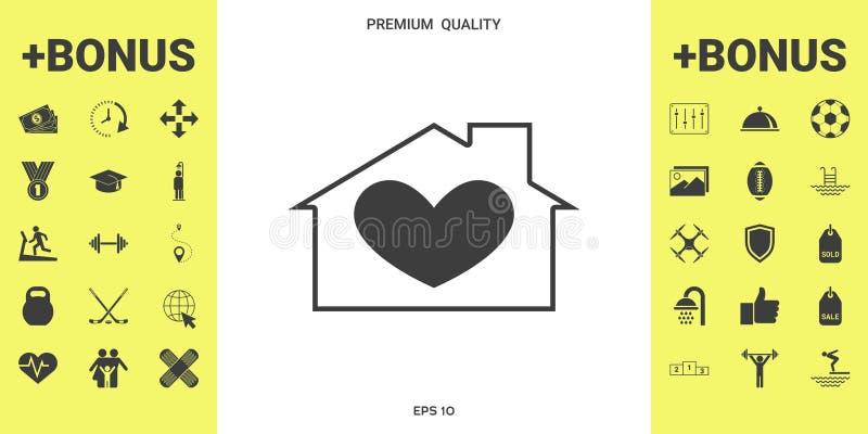 Huis met hartsymbool stock illustratie