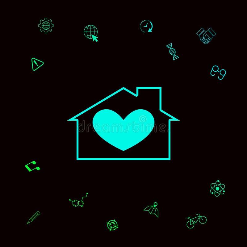 Huis met hartsymbool Grafische elementen voor uw designt royalty-vrije illustratie