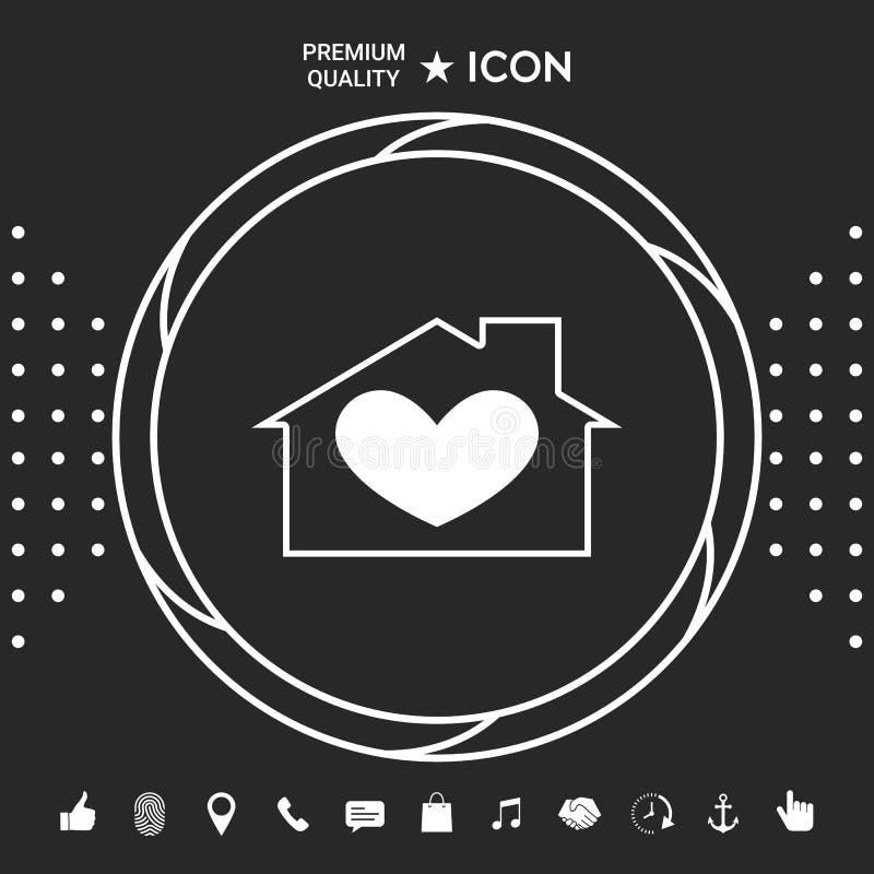 Huis met hartsymbool Grafische elementen voor uw designt stock illustratie