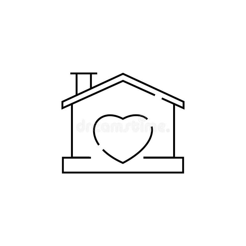 Huis met hartvorm binnen pictogram vector illustratie