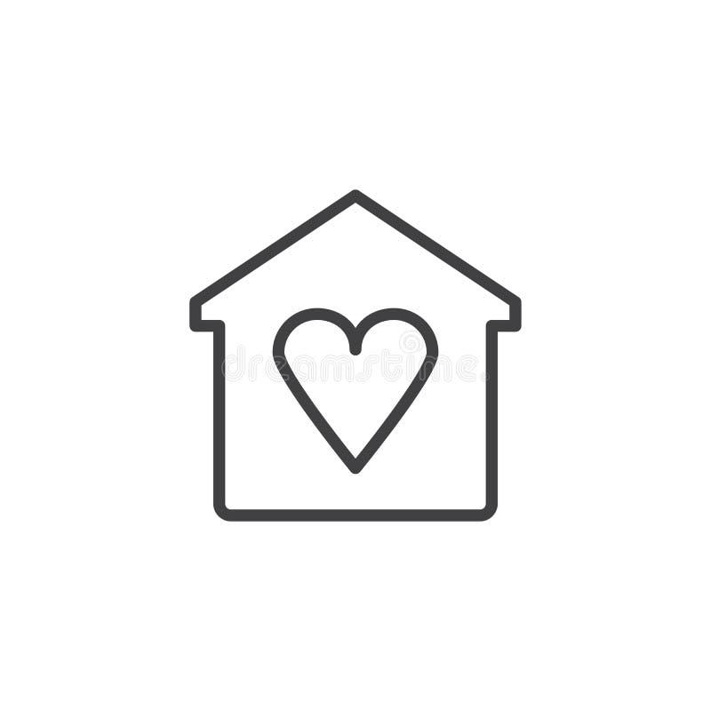 Huis met het pictogram van het hartoverzicht vector illustratie