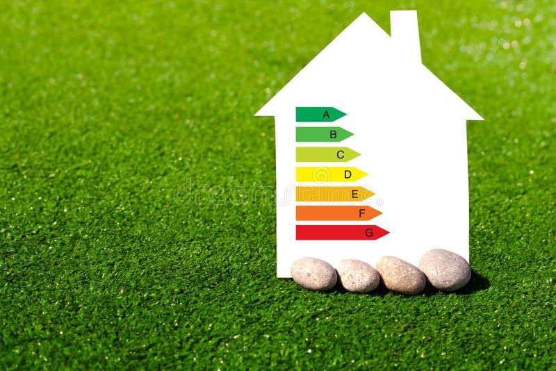 Huis met het teken van energie - besparing op een achtergrond van gras royalty-vrije stock foto's