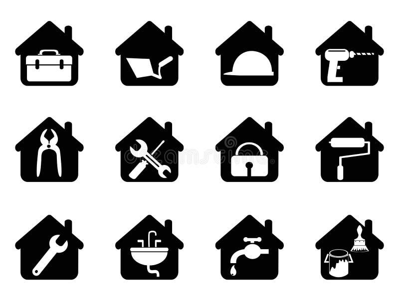 Huis met hulpmiddelenpictogram royalty-vrije illustratie
