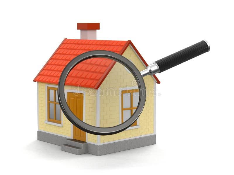 Huis met loupe (het knippen inbegrepen weg) stock illustratie