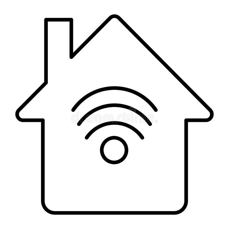 Huis met pictogram van de wifi het dunne lijn Netwerk en huisillustratie op wit wordt ge?soleerd dat Internet-het ontwerp van de  vector illustratie