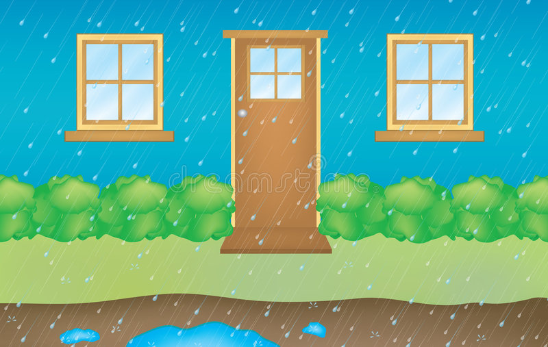 Huis met regen vector illustratie
