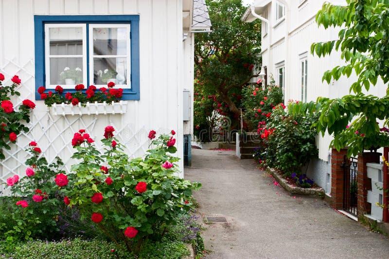 Huis met rode rozen royalty-vrije stock fotografie
