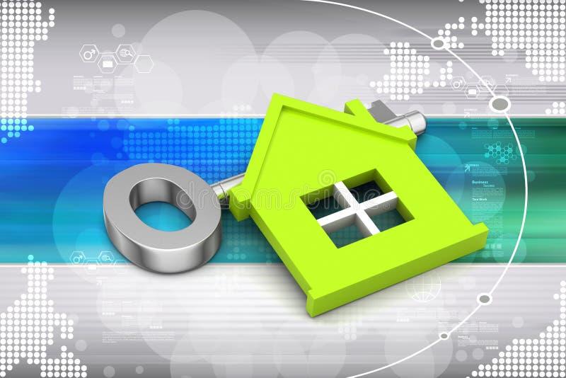 Huis met sleutel stock illustratie