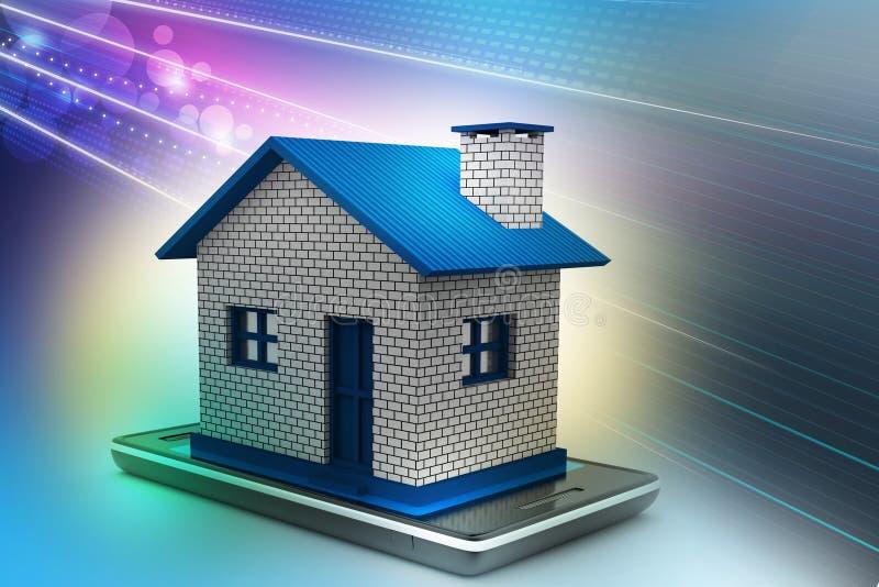 huis met slimme telefoon royalty-vrije illustratie