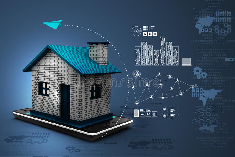 huis met slimme telefoon vector illustratie