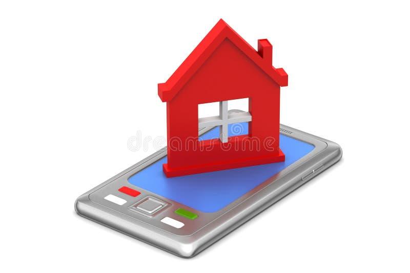huis met slimme telefoon stock illustratie