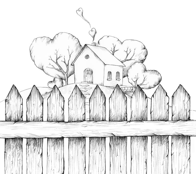 Huis met tuin achter een houten omheining royalty-vrije illustratie