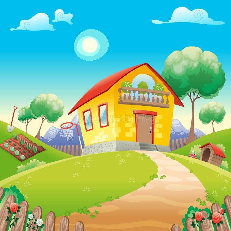 Huis met tuin int. het platteland royalty-vrije illustratie