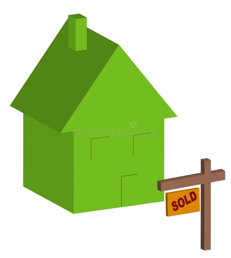 Huis met verkocht teken royalty-vrije illustratie