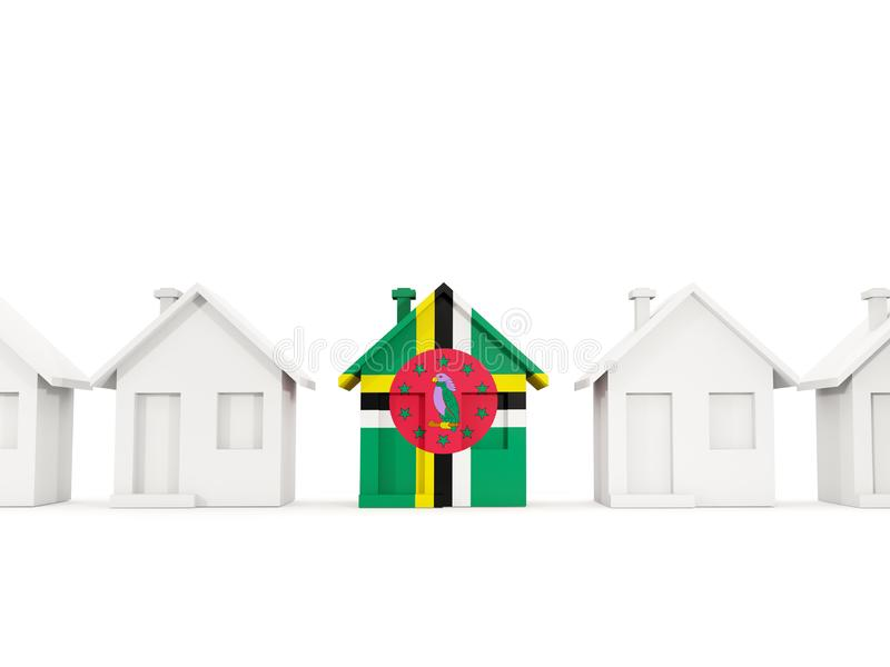Huis met vlag van dominica vector illustratie