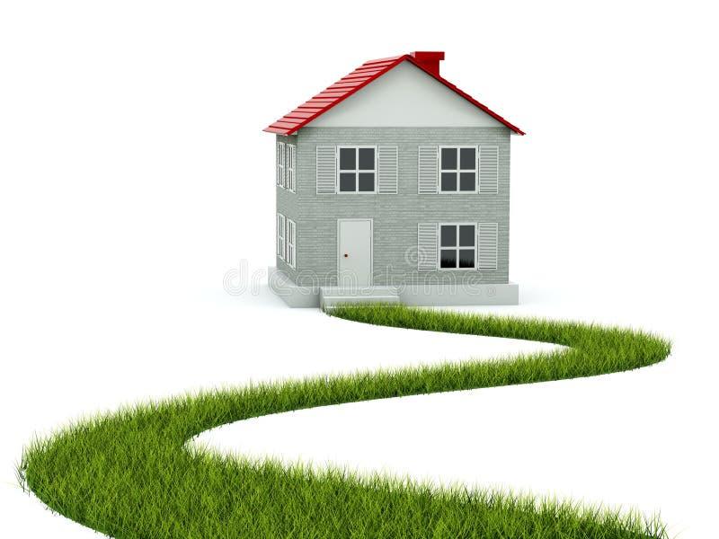 Huis met weg van gras royalty-vrije illustratie