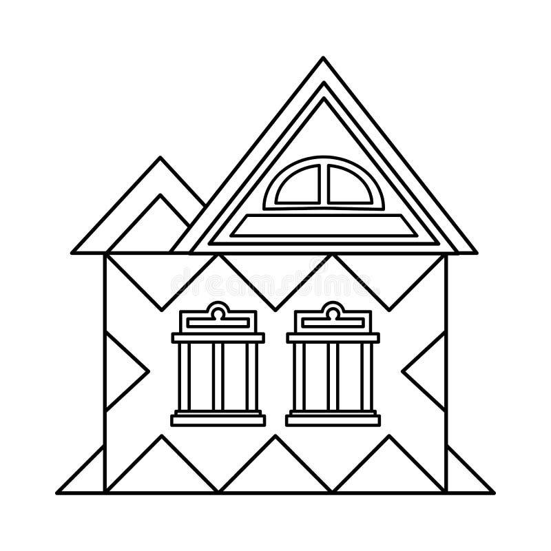 Huis met zolderpictogram, overzichtsstijl vector illustratie