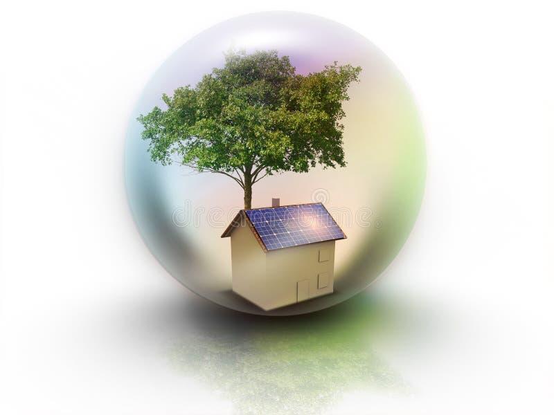 Huis met zonne-energie om geld te maken royalty-vrije illustratie